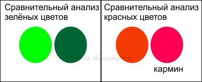 сравнительный анализ зеленых и красных цыетов